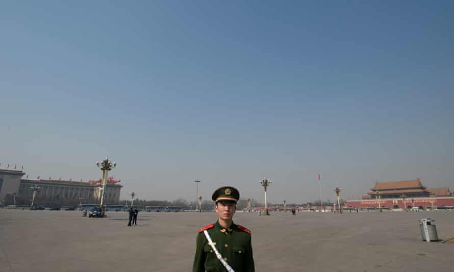 Tiananmen Square in 2008, emptied of people for the National People's Congress.