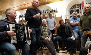 Fisherman's Friends in rehearsal with director Chris Foggin, fourth right, and actor James Purefoy, third right