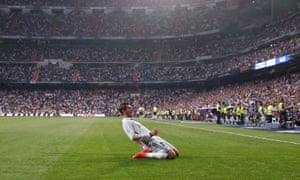 Morata celebrates scoring at the Bernabeu in August, after Real Madrid activated his buy-back clause in the summer.