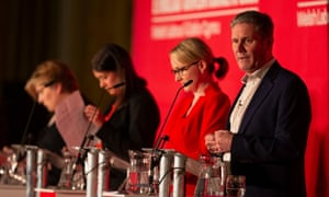 Emily Thornberry, Lisa Nandy, Rebecca Long-Bailey and Keir Starmer at a Labour leadership hustings in Cardiff, February 2020