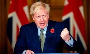 Britain's Prime Minister Boris Johnson speaks during a press conference at 10 Downing Street on 9 November 2020