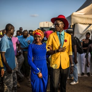 Contestants walk to the runway during the annual Mr and Miss Kibera fashion and beauty pageant.