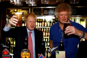 A bitter blow. Boris Johnson meeting JD Wetherspoon chairman Tim Martin this summer