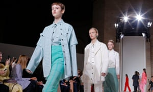 Models on the runway of Victoria Beckham's show during New York fashion week.