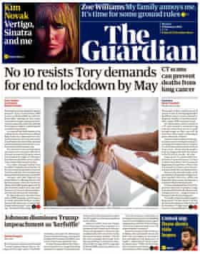 Guardian front page, Monday 15 February 2021
