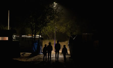 Four young people in camp