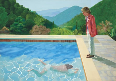 """a 1972 painting entitled """"Portrait of an Artist (Pool with Two Figures),"""" by British artist David Hockney"""