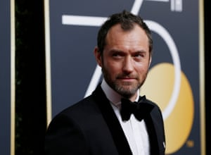 Jude Law, nominated for his role in The Young Pope, arrives.