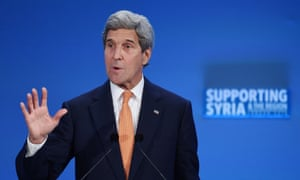 US secretary of state John Kerry addresses delegates during a refugee donor conference in London on 4 February 2016