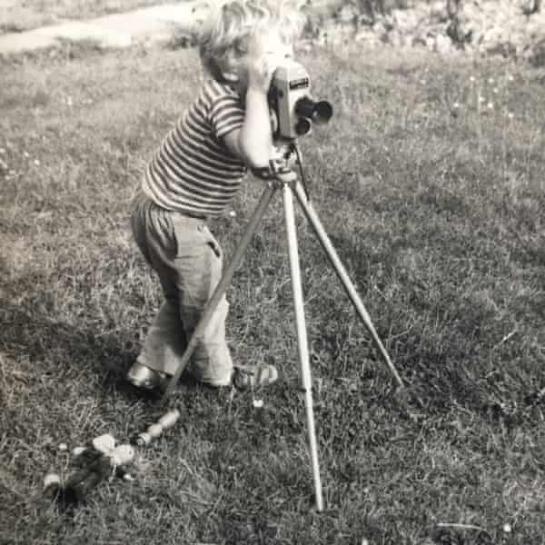 Mark Ravenhill at four years old playing with a cine camera, taken in 1971.