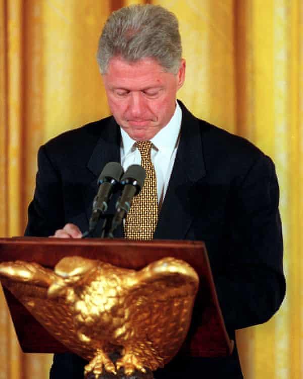Rocked … Bill Clinton in 1998.