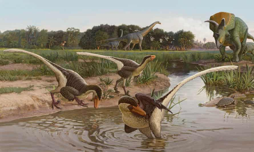 Illustration of three Dineobellator near a water source, with the ceratopsid Ojoceratops and sauropod alamosaurus in the background