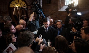 Jacob Rees-Mogg speaking to journalists after the ERG briefing.