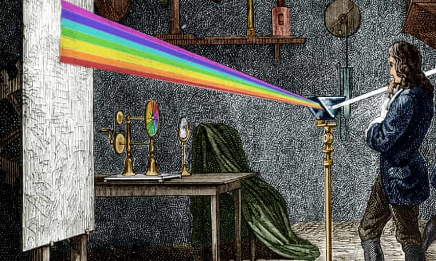 Isaac Newton refracting light with a glass prism