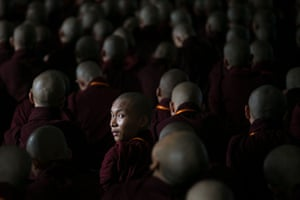 Buddhist monks at a meeting in Yangon, Myanmar