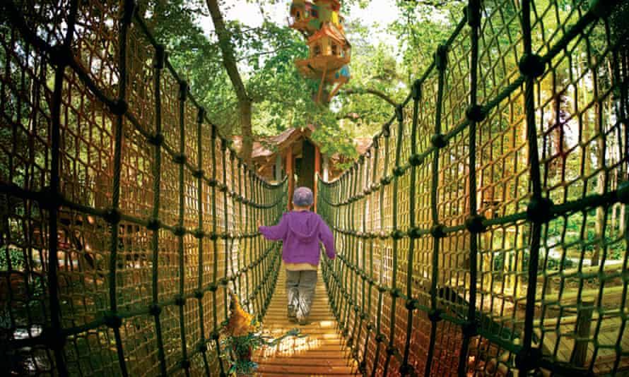 A rope bridge at Bewilderwood attraction in Norfolk.