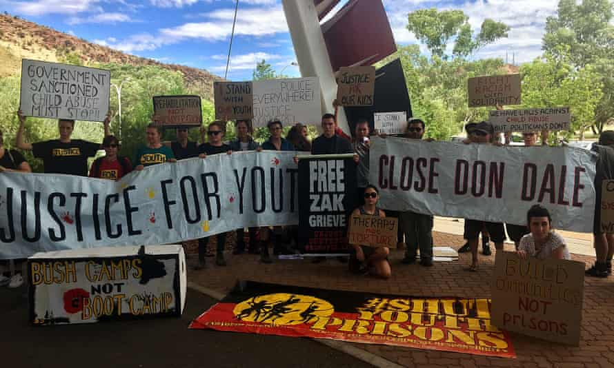 Dylan Voller (centre) with supporters during a protest outside the Northern Territory juvenile justice royal commission in Alice Springs on Monday.