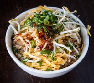 A version of Kylie Kwong's fried rice – this one has been garnished with beansprouts, spring onion and chilli.