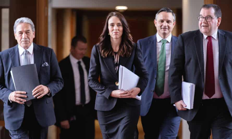 Deputy Prime Minister Winston Peters, Prime Minister Jacinda Ardern, Greens leader James Shaw and Finance Minister Grant Robertson