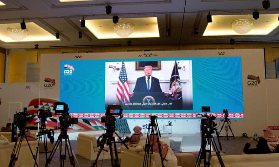 Donald Trump's virtual speech is aired live in media centre of the 15th annual G20 Leaders' Summit, in Riyadh, Saudi Arabia.