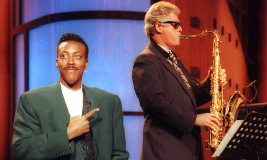 Let's talk about sax … Bill Clinton performs Heartbreak Hotel on The Arsenio Hall Show in 1992.
