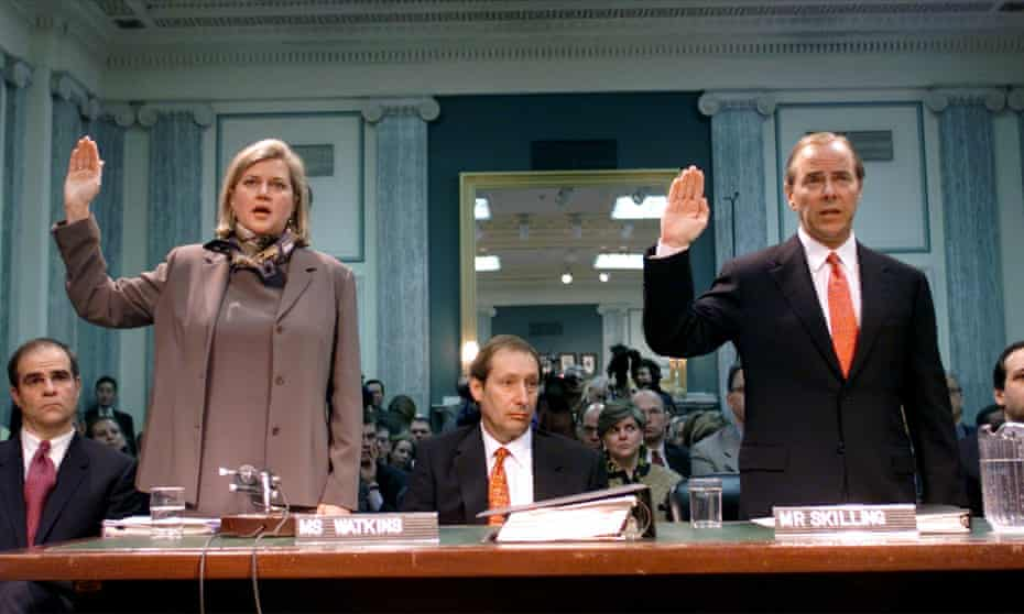 Jeffrey Skilling and Sherron Watkins of Enron at a Senate commerce committee hearing in 2002