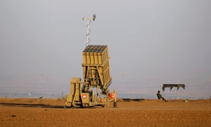 An Israeli Iron Dome rocket interceptor battery deployed near the Gaza Strip