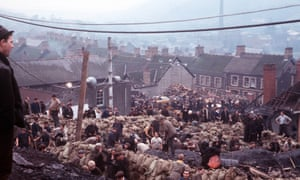 Residents and rescue workers dig for survivors amid the wreckage of Aberfan's primary school, 21 October 1966.