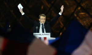 Emmanuel Macron celebrates his presidential election victory at the Louvre in Paris on Sunday evening