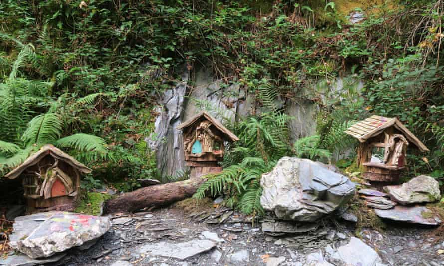Fairy houses along the Faerie Trail at Loch Lomond in Scotland.