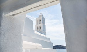 View of whitewashed church