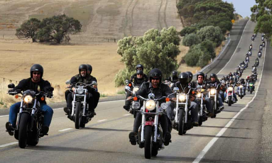 Gypsy Jokers and other associated riders riding through the Barossa Valley region north of Adelaide in 2009. The state is set to bring in new laws that would permanently tag members of motorcycle gangs as 'criminal organisation participants'.