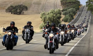Bikies in Adelaide. An official report says Campbell Newman's government spent too much time and money on bikie gangs.