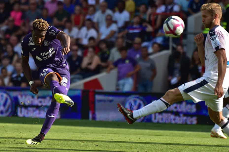 Toulouse forward Aaron Leya Iseka scores during the win over Bordeaux.