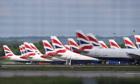British Airways planes parked at Gatwick airport.