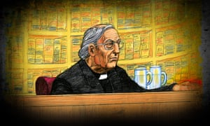 A court sketch of Cardinal George Pell