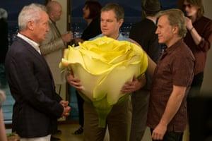 Udo Kier. Matt Damon and Christoph Waltz in Downsizing.