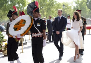 The royals begin their time in Delhi by laying a wreath at India Gate, the country's main war memorial. The duchess, wearing a knee-length frock by Emilia Wickstead, had several unexpected Marilyn Monroe moments