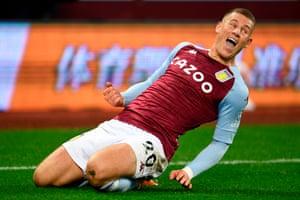 Aston Villa's English midfielder Ross Barkley celebrates after scoring.