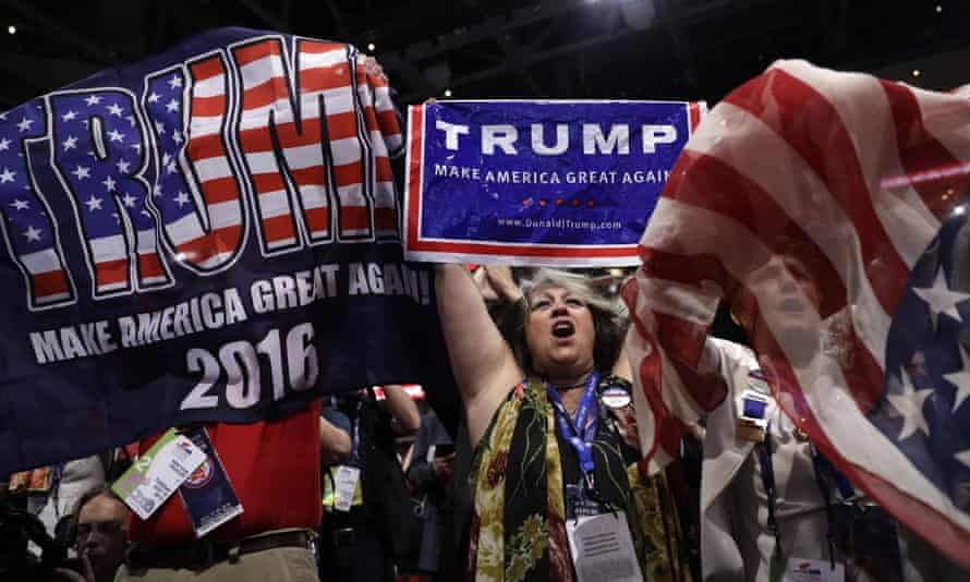New York delegates cheer during the second day session of the Republican national convention.