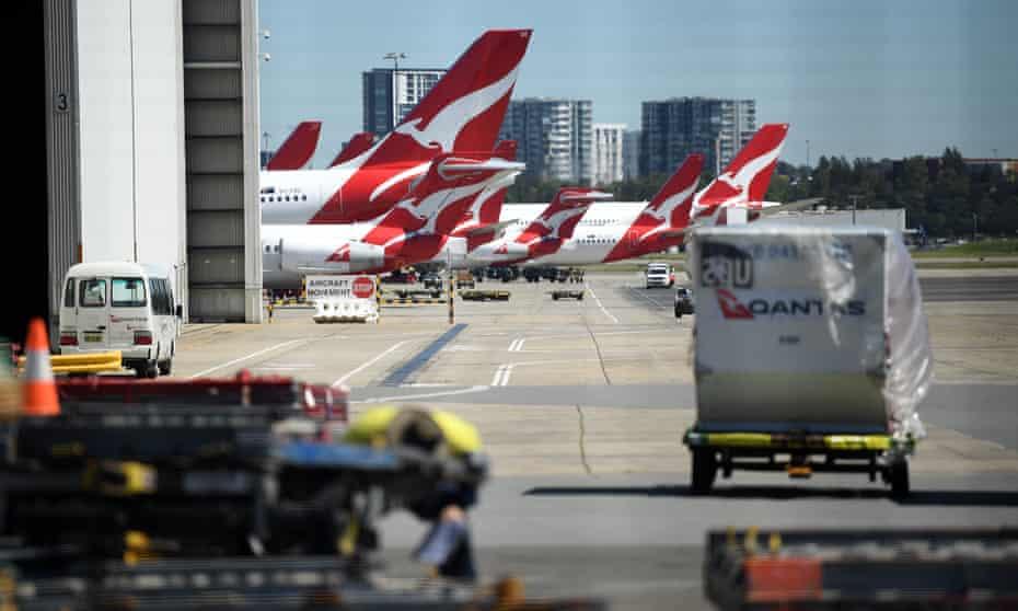 Qantas planes at the airport
