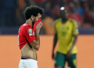Egypt's Mohamed Salah reacts after South Africa's Thembinkosi Lorch opened the scoring.