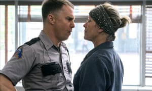 Face-off … Sam Rockwell and Frances McDormand in Three Billboards Outside Ebbing, Missouri.