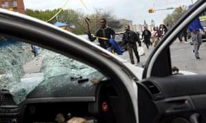 Damaged Baltimore police vehicle.