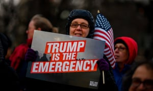 A protester at a President's Day demonstration against Trump's immigration policy in New York City