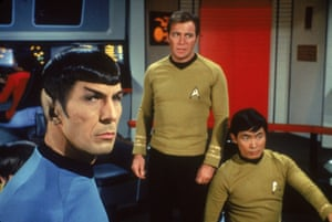 With Leonard Nimoy and William Shatner in the original Star Trek.