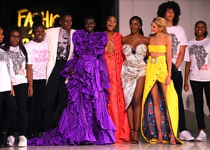 Naomi Campbell, Stella Maxwell and other models on the catwalk at the Fashion For Relief show during London fashion week