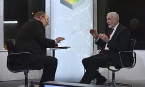Andrew Neil and Jeremy Corbyn in Tuesday night's BBC programme.