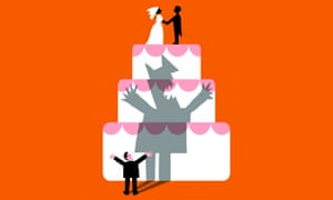Illustration of man waving arms at wedding cake on which bride and groom are standing