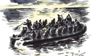Illustration of an overcrowded boat Sea Prayer by Khaled Hosseini.